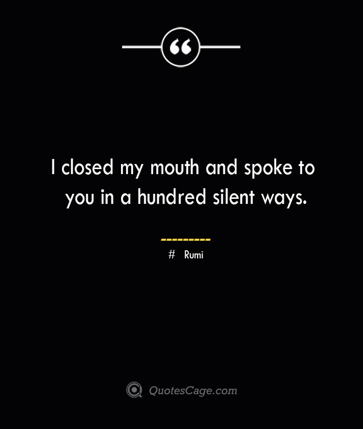 I closed my mouth and spoke to you in a hundred silent ways. ― Rumi