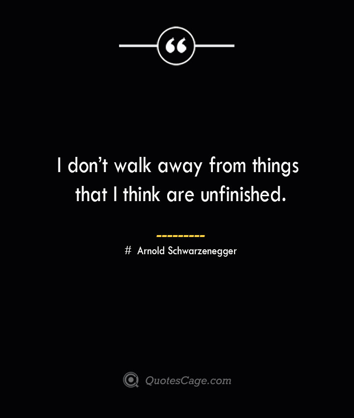 I dont walk away from things that I think are unfinished.— Arnold Schwarzenegger