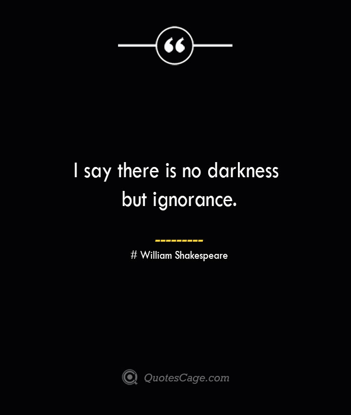 I say there is no darkness but ignorance. William Shakespeare