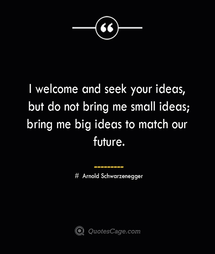 I welcome and seek your ideas but do not bring me small ideas bring me big ideas to match our future.— Arnold Schwarzenegger