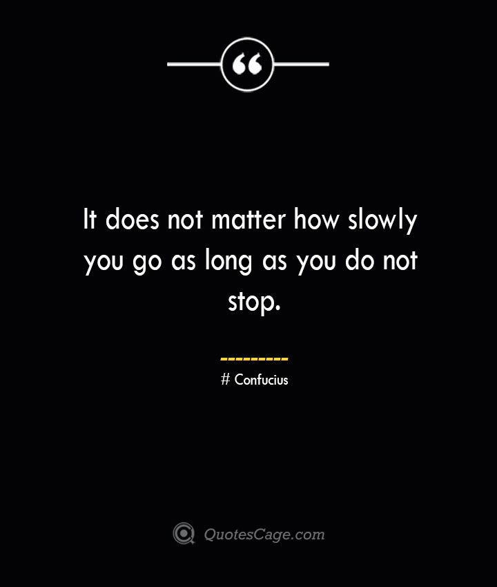 It does not matter how slowly you go as long as you do not stop.— Confucius