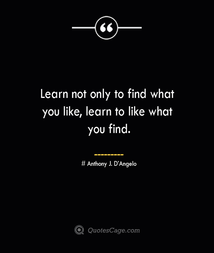 Learn not only to find what you like learn to like what you find.— Anthony J. DAngelo