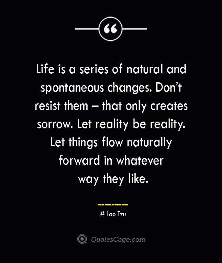 Life is a series of natural and spontaneous changes. Dont resist them – that only creates sorrow. Let reality be reality. Let things flow naturally forward in whatever way they like.— Lao Tzu