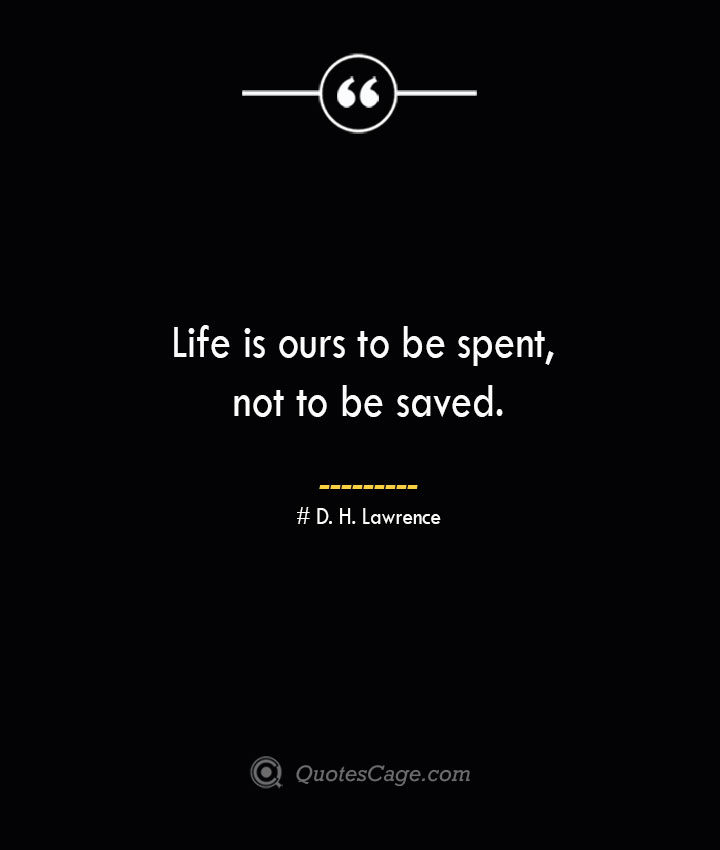 Life is ours to be spent not to be saved.— D. H. Lawrence