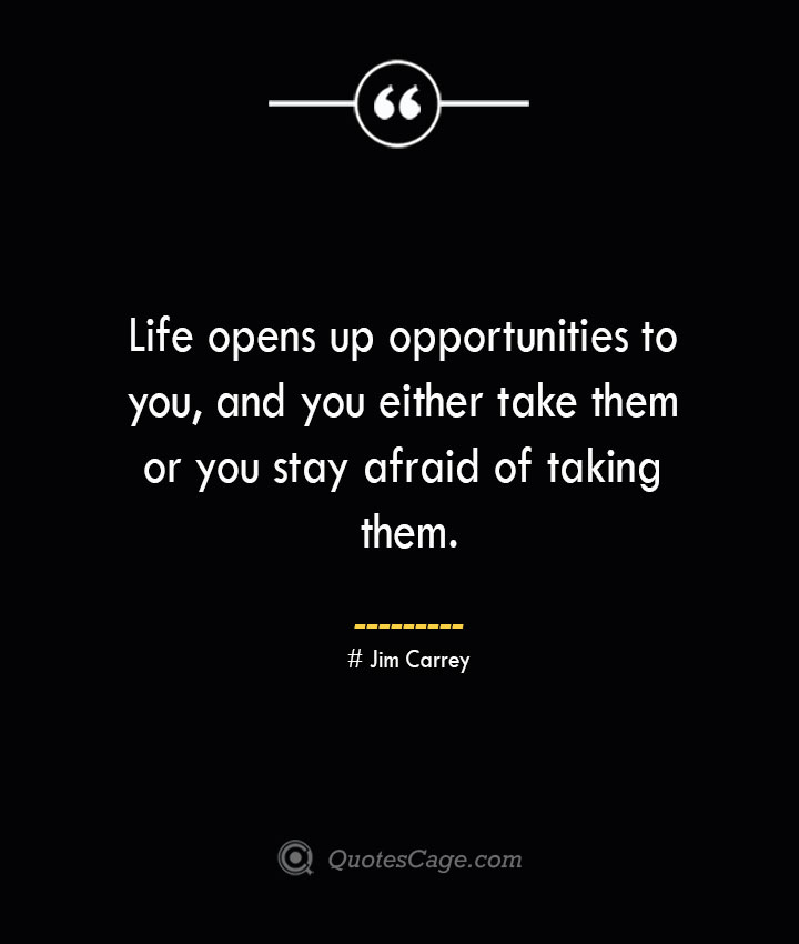 Life opens up opportunities to you and you either take them or you stay afraid of taking them.— Jim Carrey