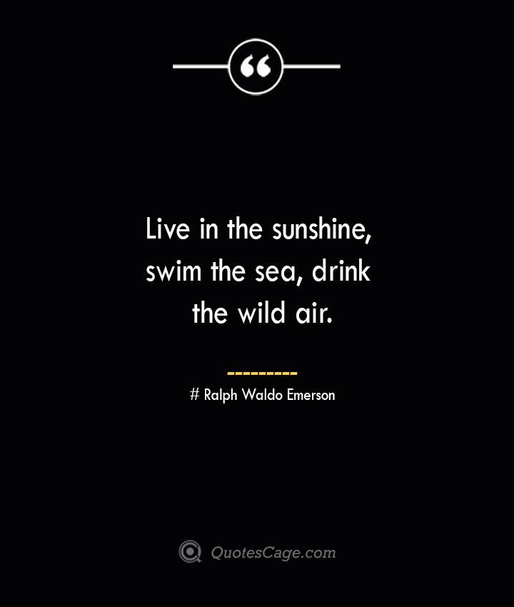 Live in the sunshine swim the sea drink the wild air.— Ralph Waldo Emerson