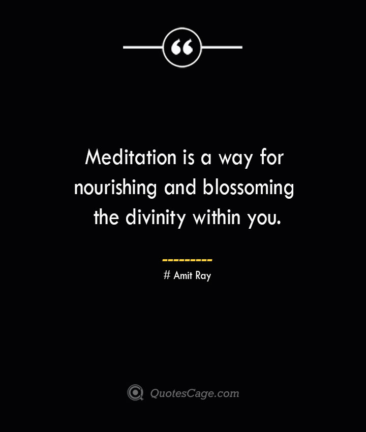 Meditation is a way for nourishing and blossoming the divinity within you.— Amit Ray 1