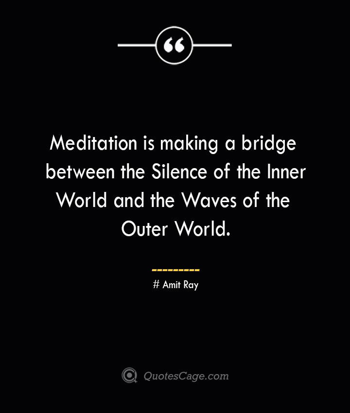 Meditation is making a bridge between the Silence of the Inner World and the Waves of the Outer World.— Amit Ray