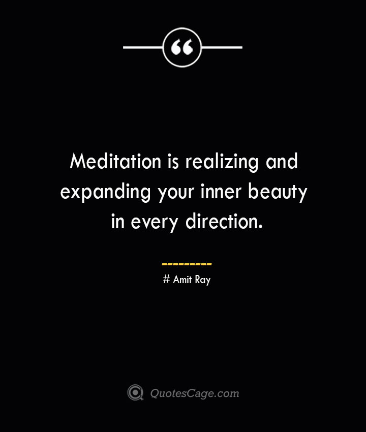 Meditation is realizing and expanding your inner beauty in every direction.— Amit Ray