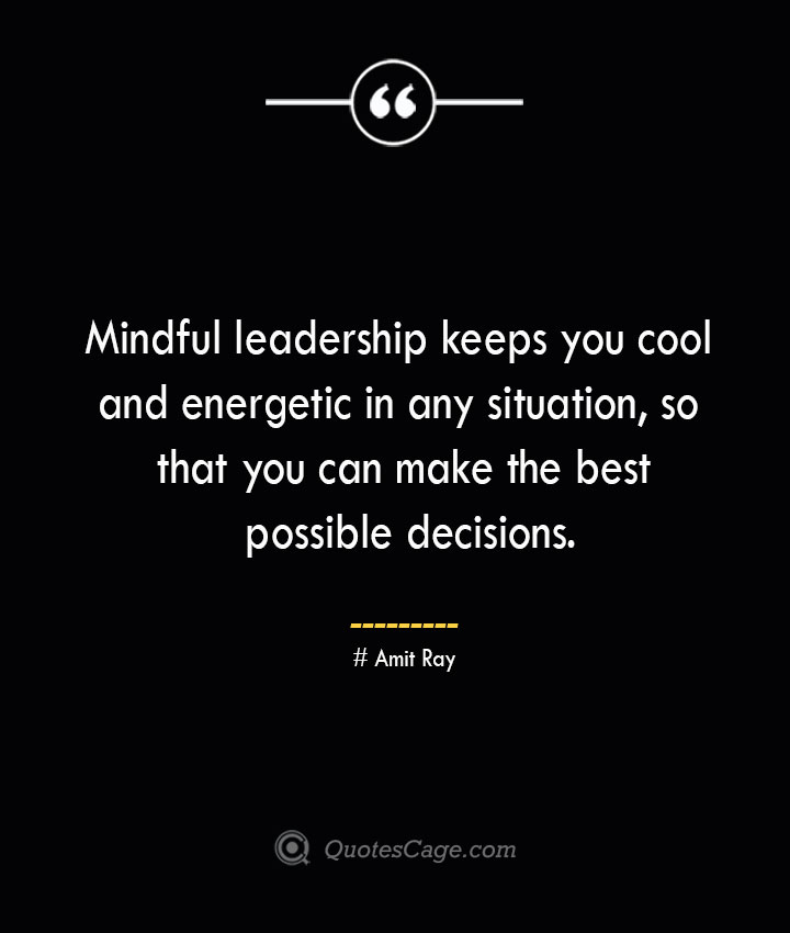 Mindful leadership keeps you cool and energetic in any situation so that you can make the best possible decisions.— Amit Ray