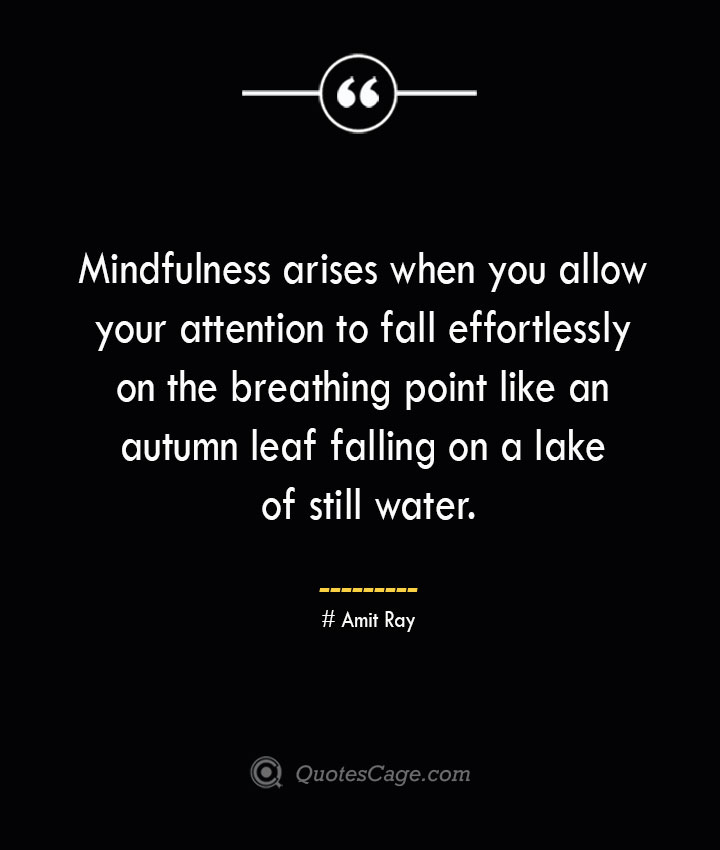 Mindfulness arises when you allow your attention to fall effortlessly on the breathing point like an autumn leaf falling on a lake of still water.— Amit Ray
