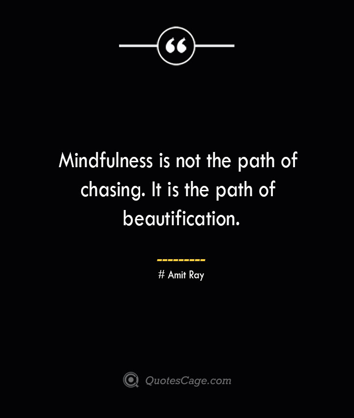 Mindfulness is not the path of chasing. It is the path of beautification.— Amit Ray