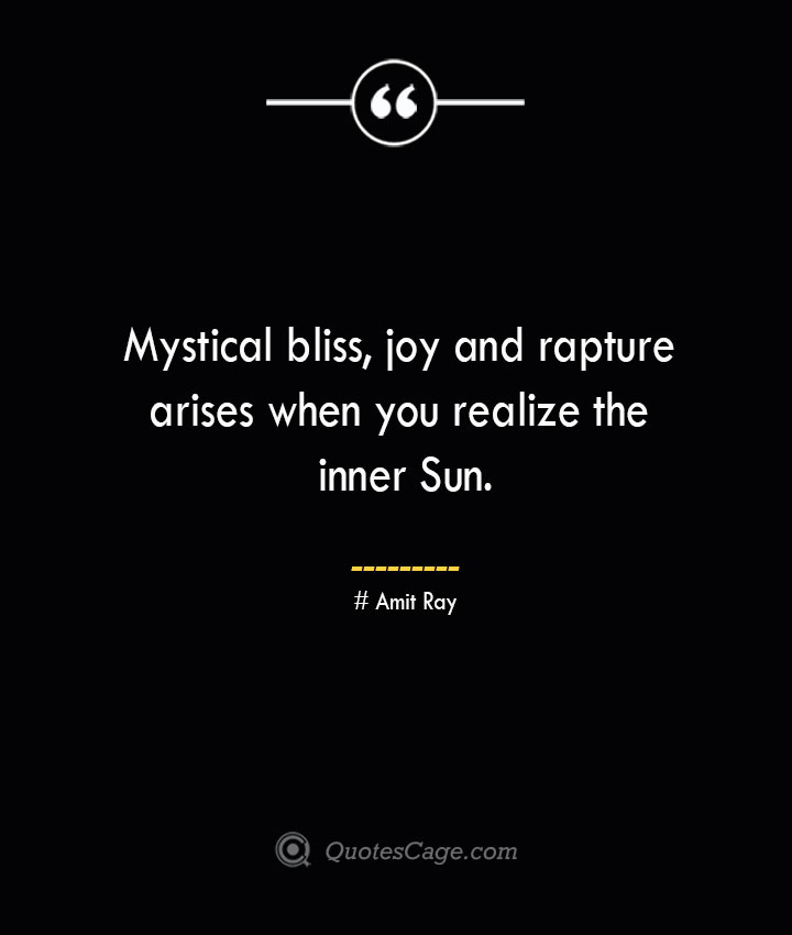 Mystical bliss joy and rapture arises when you realize the inner Sun.— Amit Ray 1