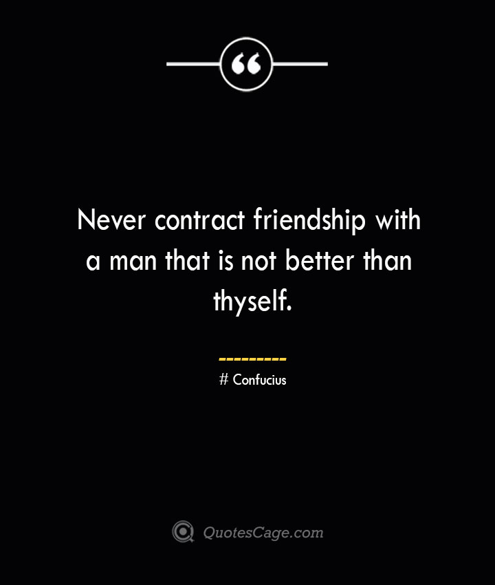 Never contract friendship with a man that is not better than thyself.— Confucius