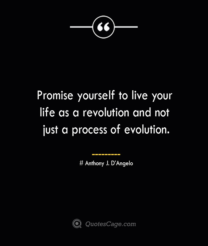 Promise yourself to live your life as a revolution and not just a process of evolution.— Anthony J. DAngelo