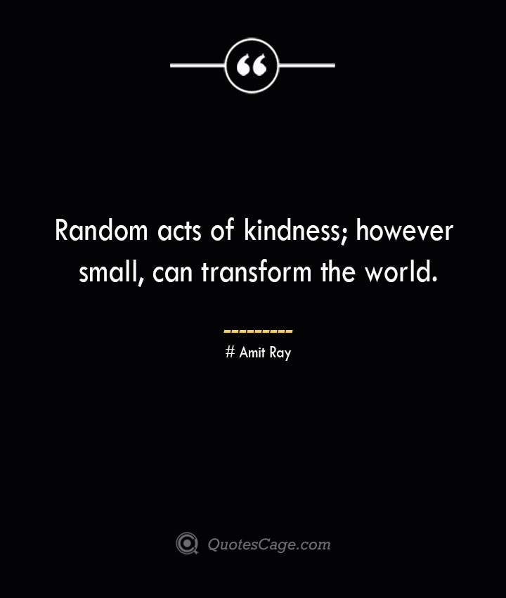 Random acts of kindness however small can transform the world.— Amit Ray