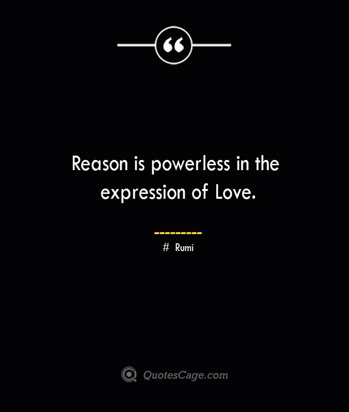 Reason is powerless in the expression of Love. ― Rumi