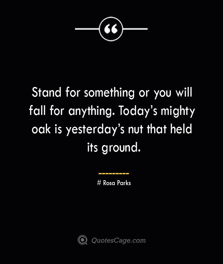 Stand for something or you will fall for anything. Todays mighty oak is yesterdays nut that held its ground.— Rosa Parks