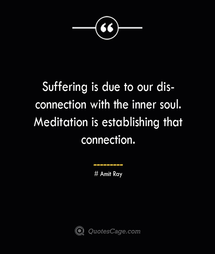 Suffering is due to our disconnection with the inner soul. Meditation is establishing that connection. — Amit Ray 1
