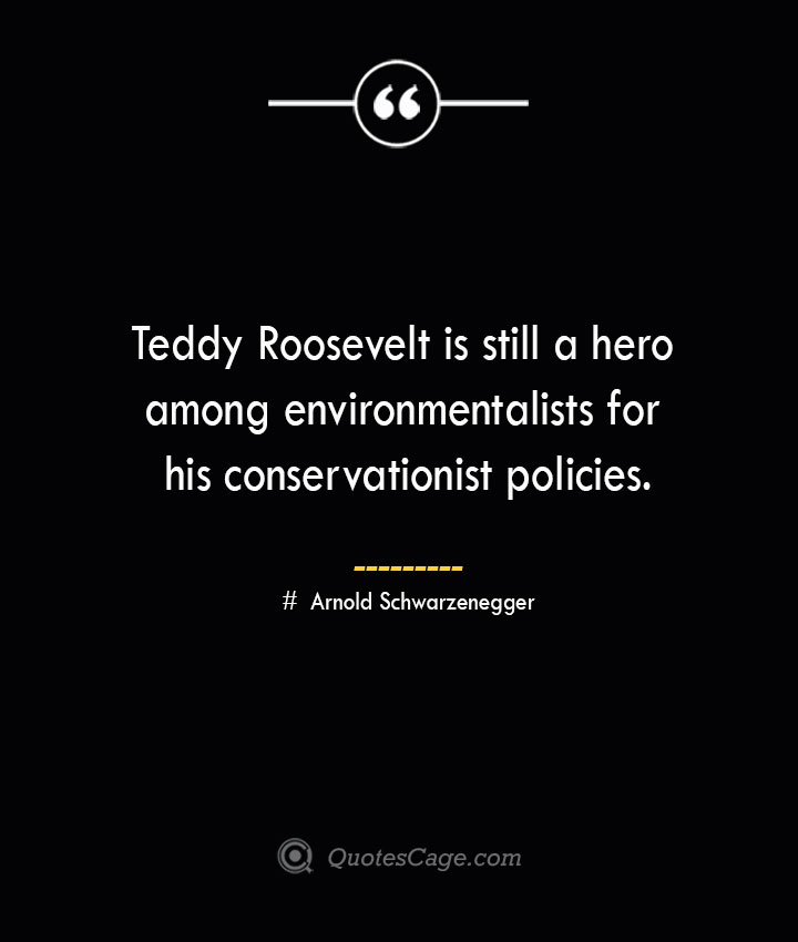 Teddy Roosevelt is still a hero among environmentalists for his conservationist policies.— Arnold Schwarzenegger