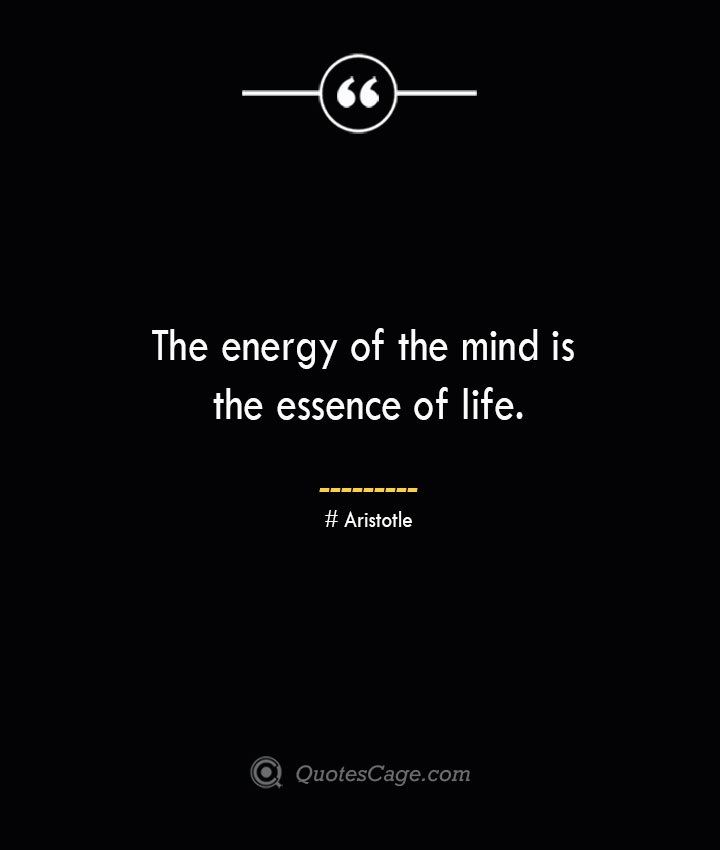 The energy of the mind is the essence of life.— Aristotle