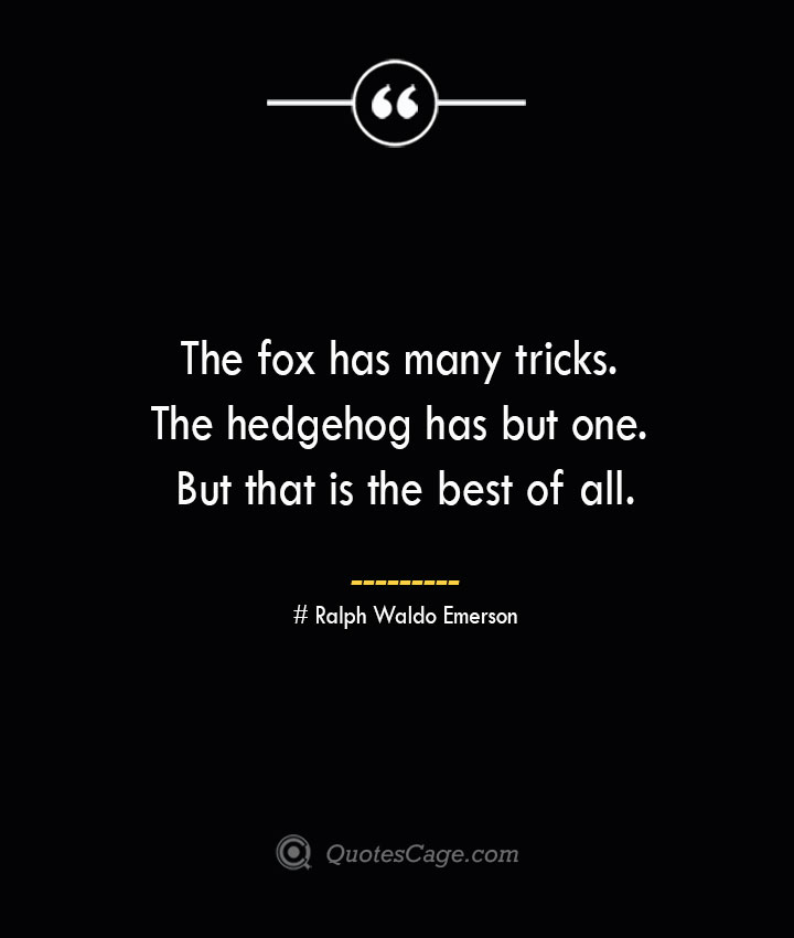 The fox has many tricks. The hedgehog has but one. But that is the best of all.— Ralph Waldo Emerson