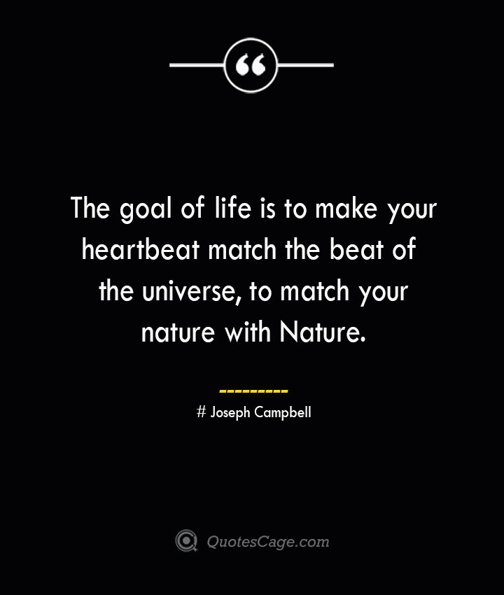 The goal of life is to make your heartbeat match the beat of the universe to match your nature with Nature.— Joseph Campbell