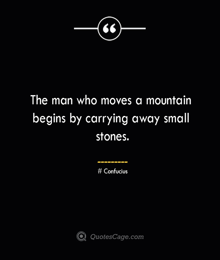 The man who moves a mountain begins by carrying away small stones.— Confucius