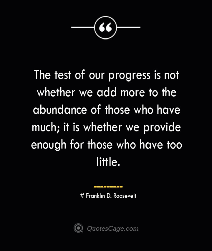 The test of our progress is not whether we add more to the abundance of those who have much it is whether we provide enough for those who have too little.— Franklin D. Roosevelt