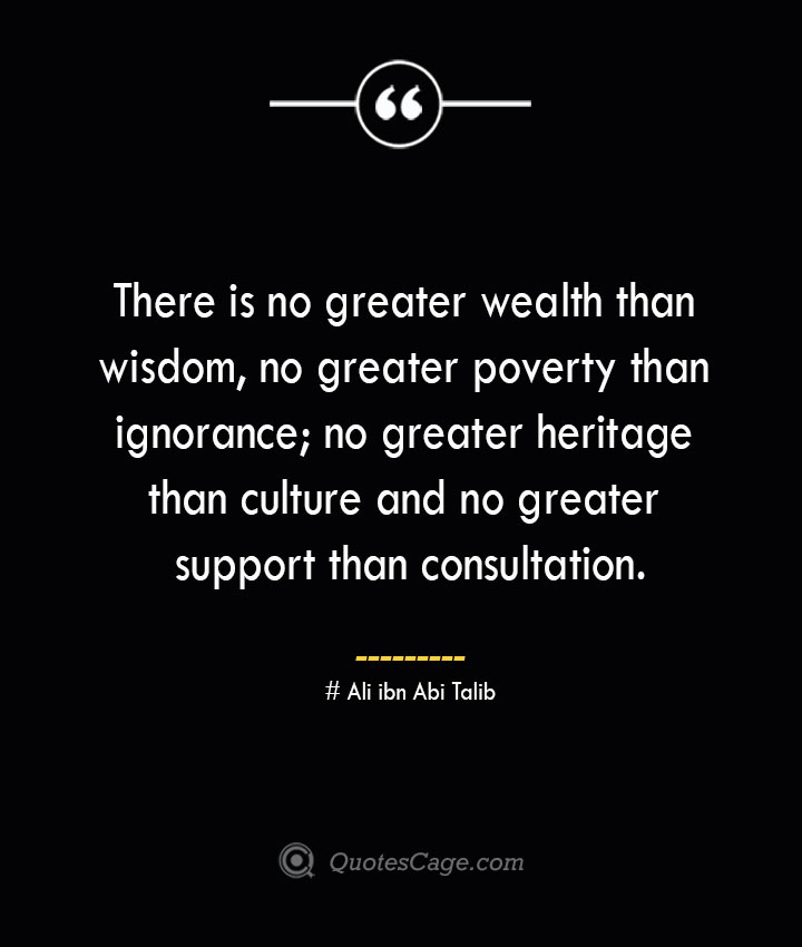 There is no greater wealth than wisdom no greater poverty than ignorance no greater heritage than culture and no greater support than consultation.— Ali ibn Abi Talib