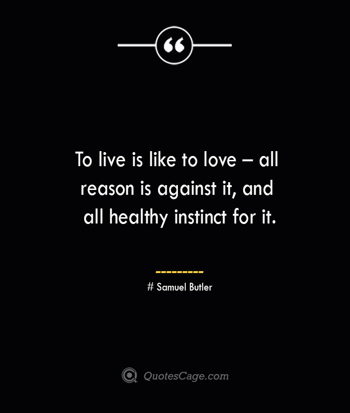 To live is like to love – all reason is against it and all healthy instinct for it.— Samuel Butler