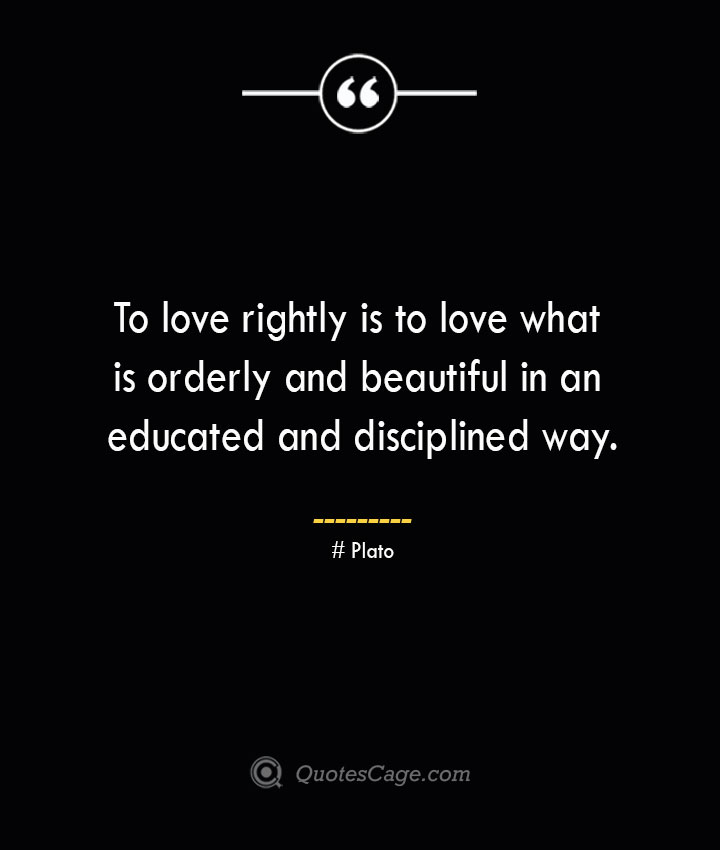 To love rightly is to love what is orderly and beautiful in an educated and disciplined way.— Plato