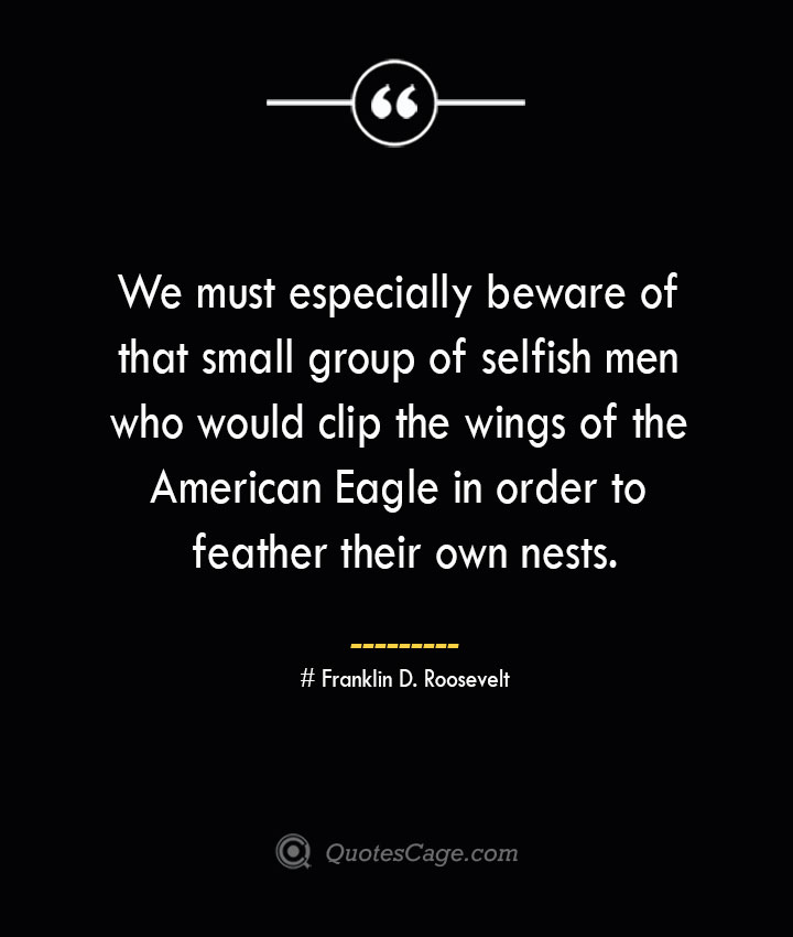 We must especially beware of that small group of selfish men who would clip the wings of the American Eagle in order to feather their own nests.— Franklin D. Roosevelt