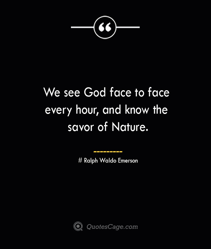 We see God face to face every hour and know the savor of Nature.— Ralph Waldo Emerson