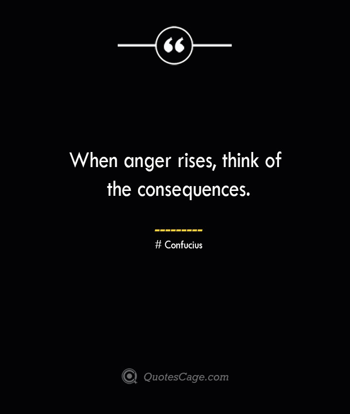 When anger rises think of the consequences. — Confucius