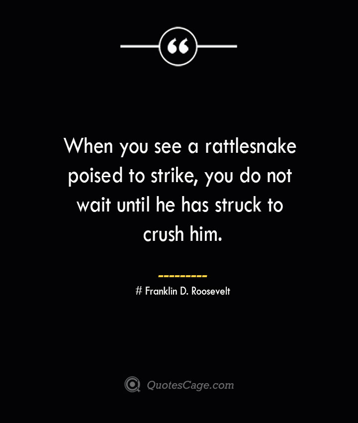 When you see a rattlesnake poised to strike you do not wait until he has struck to crush him.— Franklin D. Roosevelt 1