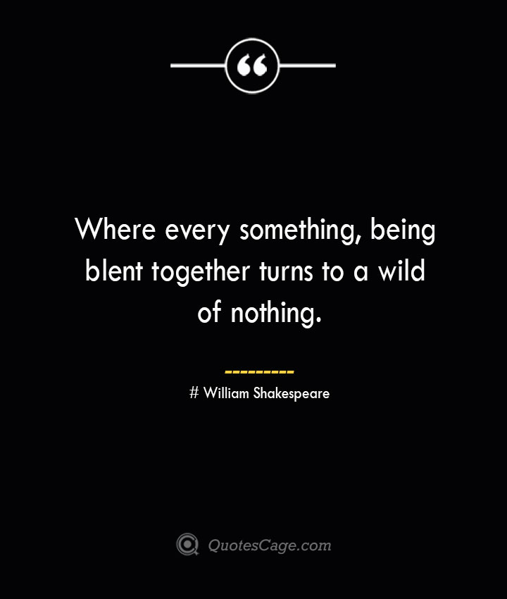 Where every something being blent together turns to a wild of nothing. William Shakespeare