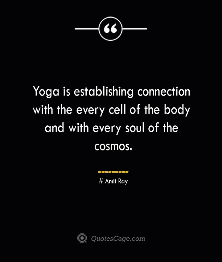 Yoga is establishing connection with the every cell of the body and with every soul of the cosmos. — Amit Ray
