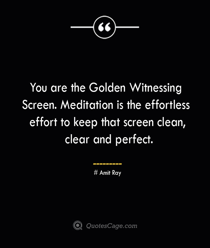 You are the Golden Witnessing Screen. Meditation is the effortless effort to keep that screen clean clear and perfect.— Amit Ray