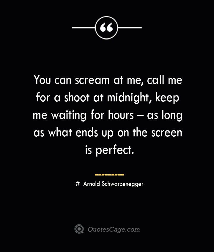 You can scream at me call me for a shoot at midnight keep me waiting for hours – as long as what ends up on the screen is perfect.— Arnold Schwarzenegger