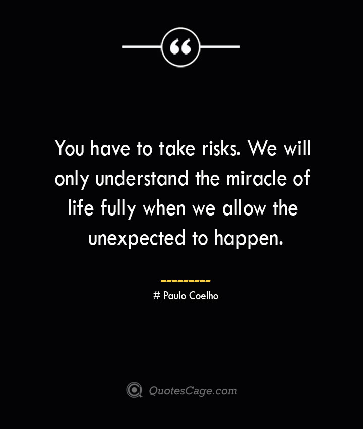 You have to take risks. We will only understand the miracle of life fully when we allow the unexpected to happen.— Paulo Coelho