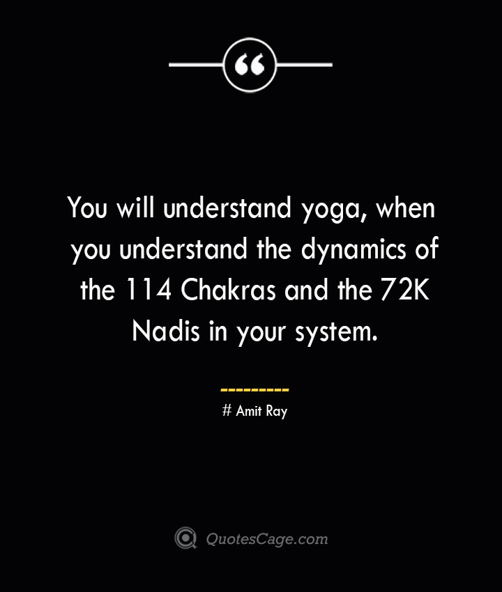 You will understand yoga when you understand the dynamics of the 114 Chakras and the 72K Nadis in your system. — Amit Ray